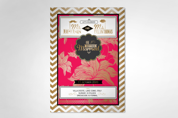 Flower Chevron Wedding Invitation
