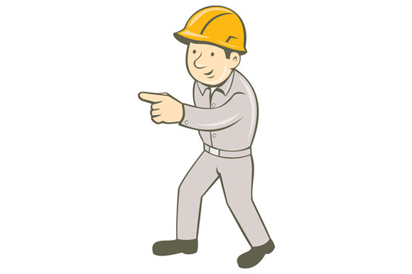 Builder Construction Worker Pointing