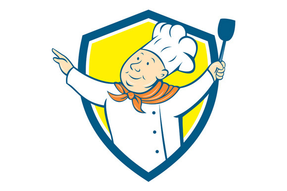 Chef Cook Arm Out Spatula Shield Car