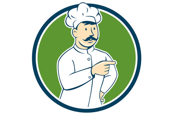 Chef Cook Mustache Pointing Circle C