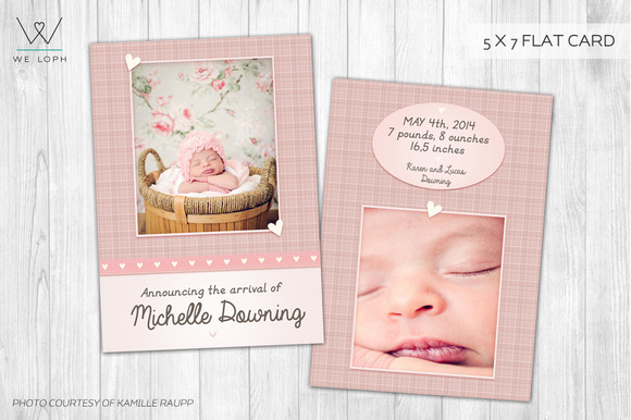 Little Heart New Born Card Template