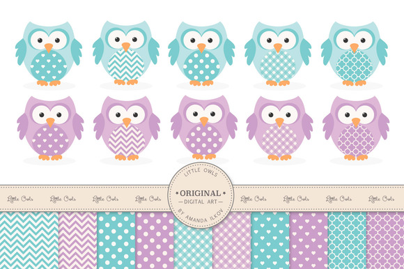 Aqua Purple Owl Vectors Papers