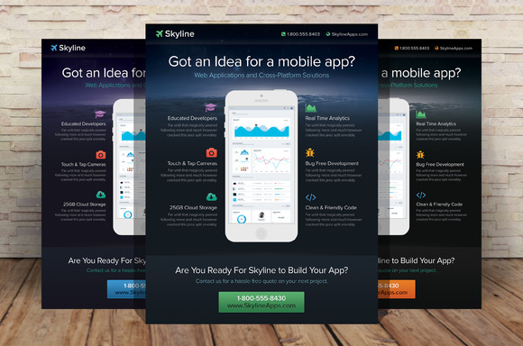 Skyline Mobile App Flyer Template
