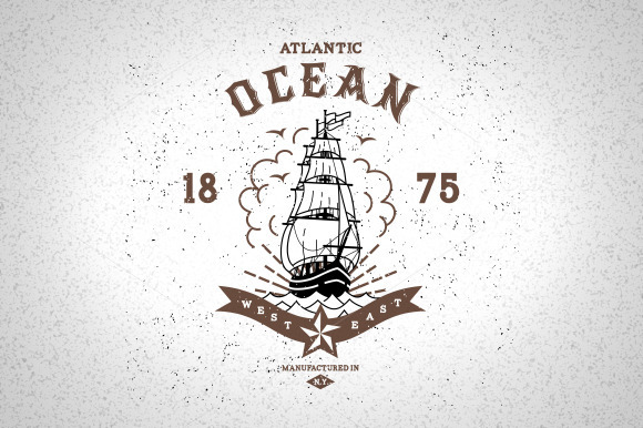 Vintage Label Atlantic Ocean