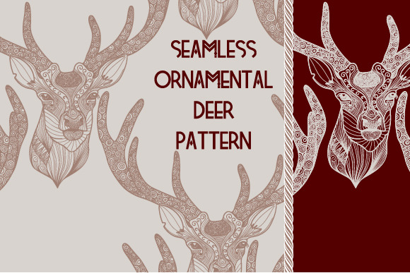 Seamless Ornamental Deer Pattern