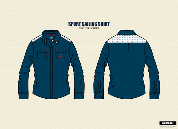 Sport Sailing Shirt Vector Template