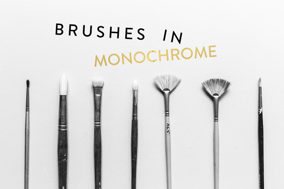 Monochrome Paintbrushes Styled Stock