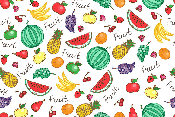 Pattern With Fruit And Berries