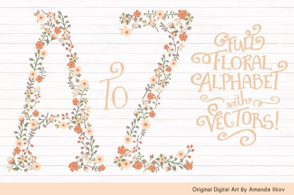 Peach Floral Alphabet Vectors PNGs