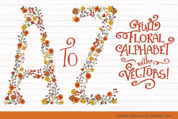 Autum Floral Alphabet Vectors PNGs