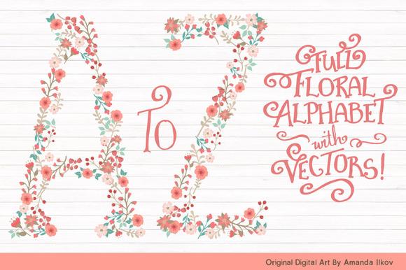 Mint Coral Floral Alphabet Clipart