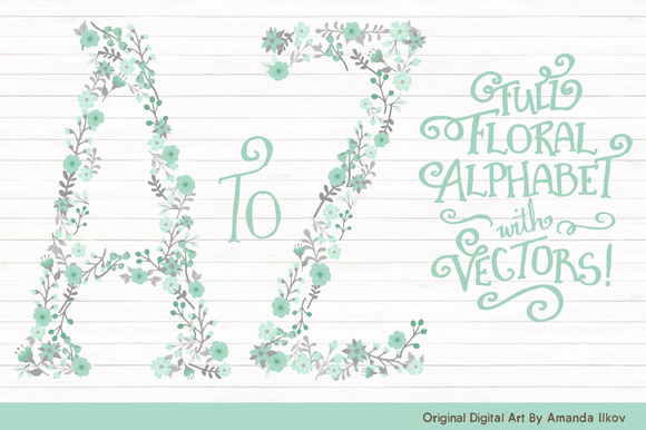 Mint Grey Floral Alphabet Vectors