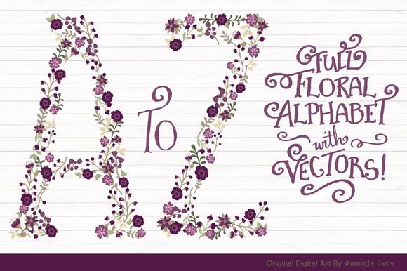 Deep Plum Vector Floral Alphabet