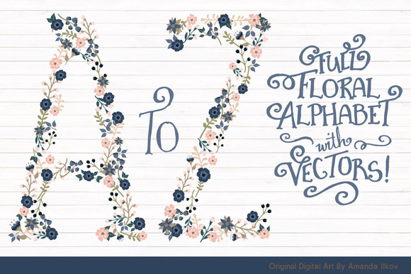 Navy Blush Floral Alphabet Vectors
