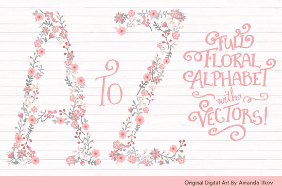 Pink Grey Floral Alphabet Vectors