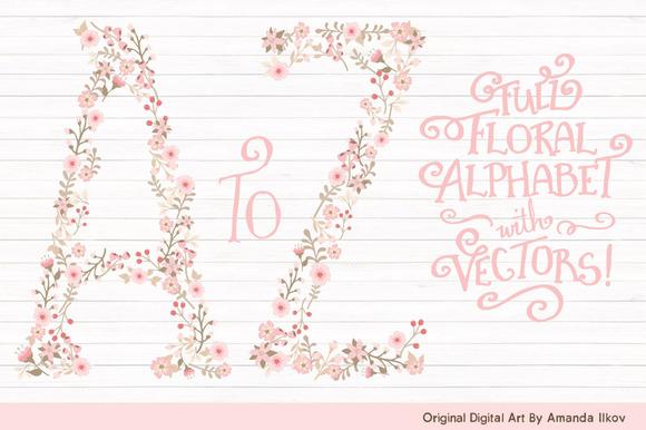 Soft Pink Floral Alphabet Vectors