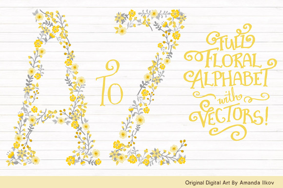 Sunshine Yellow Floral Alphabet