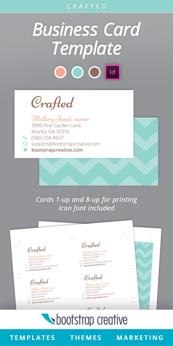 Feminine Business Card InDesign Teal