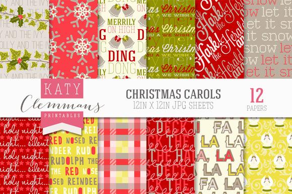 Christmas Carols Digital Paper Pack