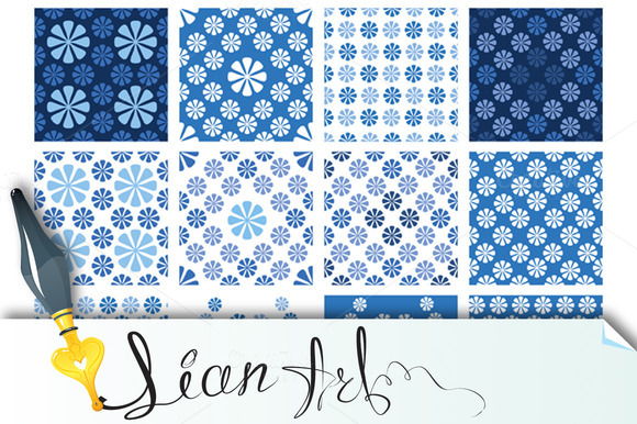 Seamless Patterns Blue Floral Orname