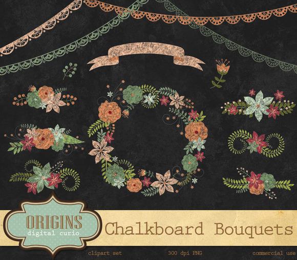 Chalkboard Floral Bouquet Clipart