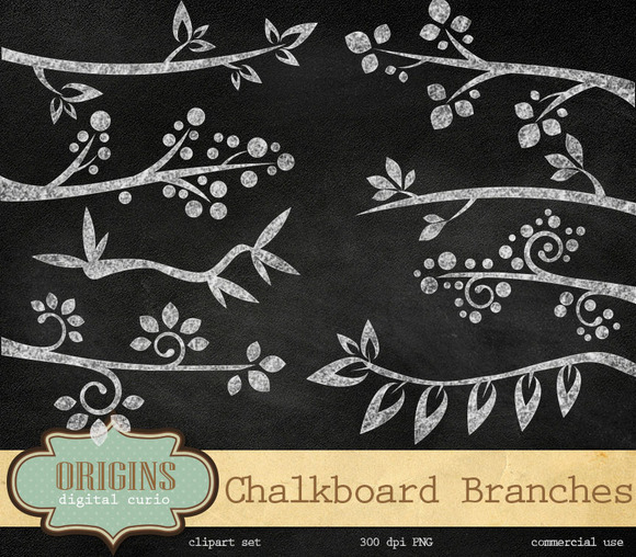 Chalkboard Branches Clipart