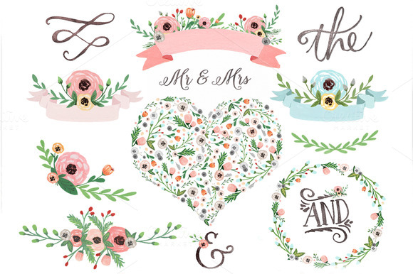 Pastel Watercolour Floral Clipart