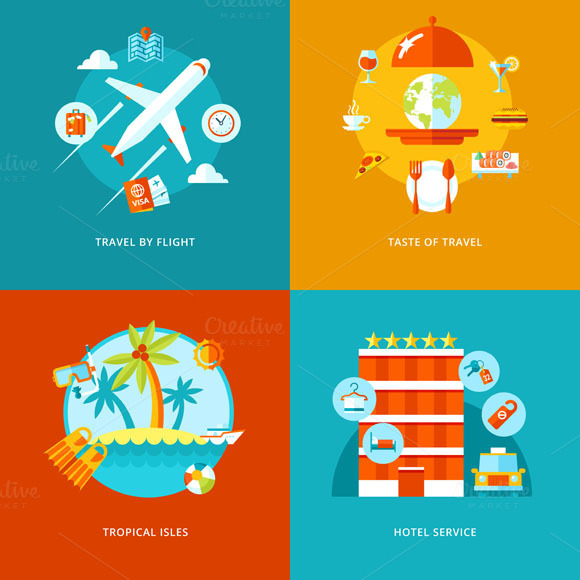 Flat Travel Vector Icons Set