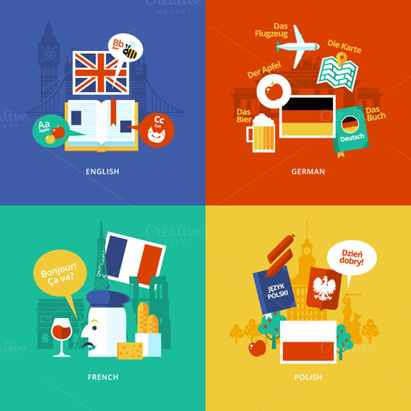 Flat Languages Lessons Icons