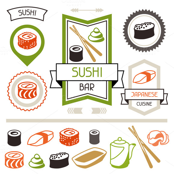 Badges Set Of Various Sushi