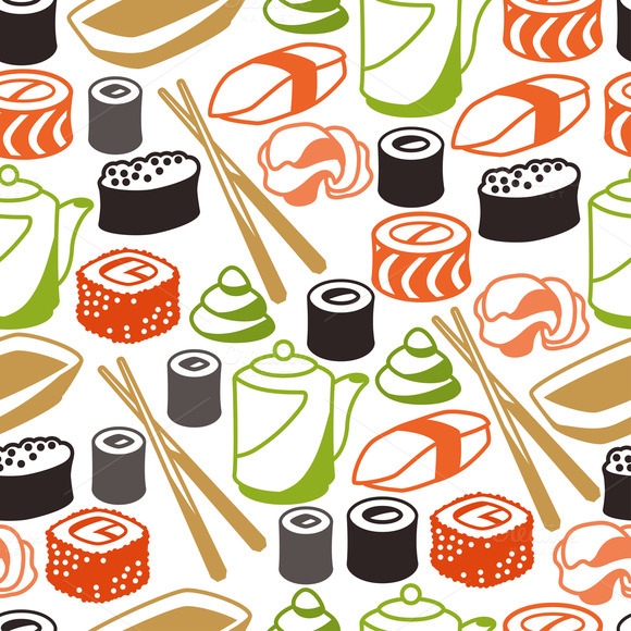 Seamless Patterns With Sushi