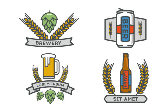 Vector Linear Icons Of Beer