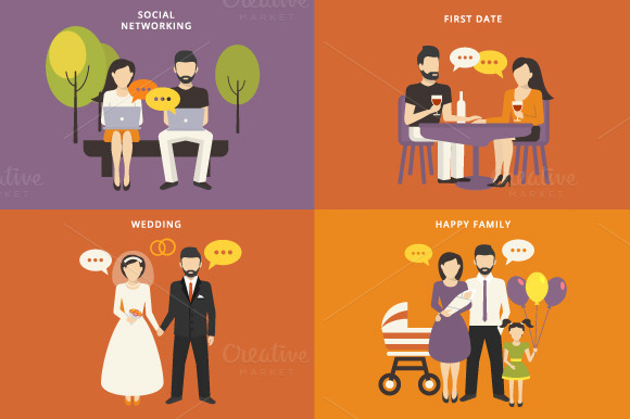 Family Flat Illustrations Set #1
