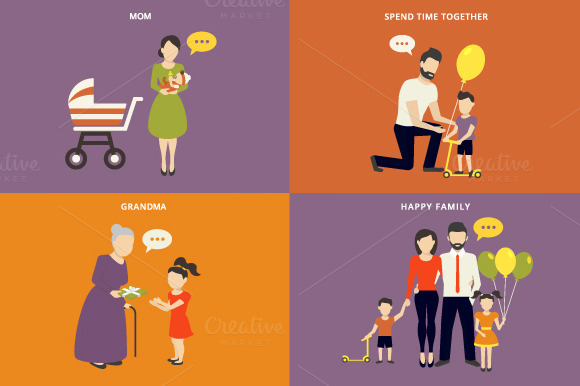 Family Flat Illustrations Set #3