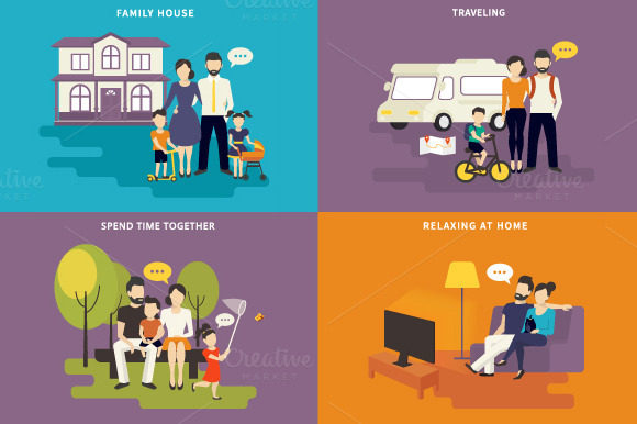Family Flat Illustrations Set #5
