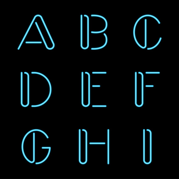 Vector Neon Letters Alphabet