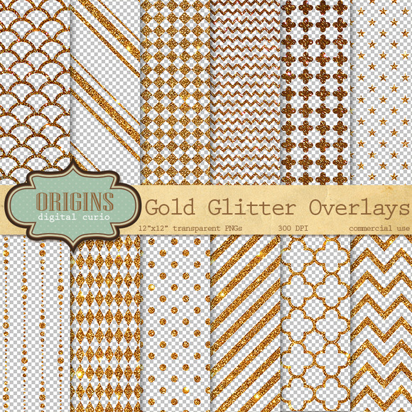 Gold Glitter Overlays