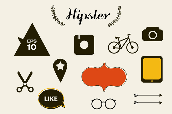 Chalkboard Hipster Icons And Stamp