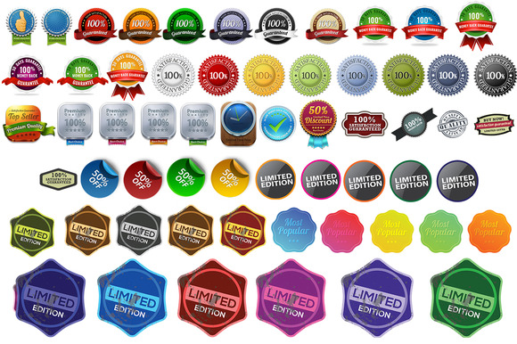 61 BADGE ICONS PNG PSD FORMAT