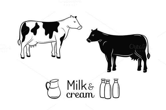 Milk And Cream Emblems Set