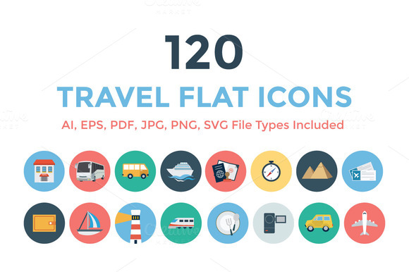 120 Travel Flat Icons