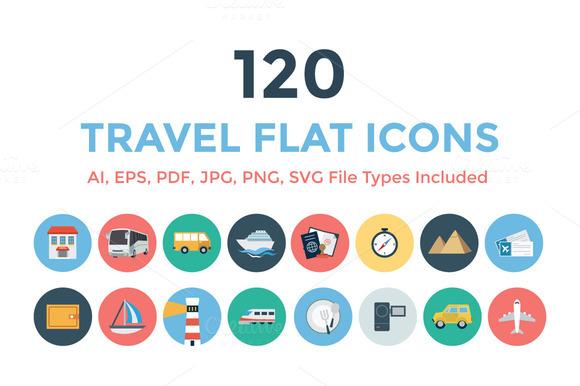 120 Travel Flat Icons