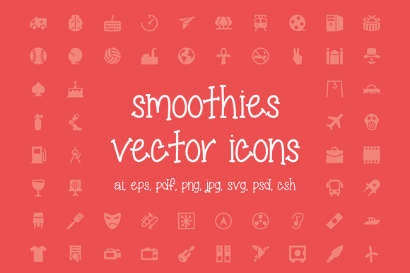 350 Smoothies Vector Icons