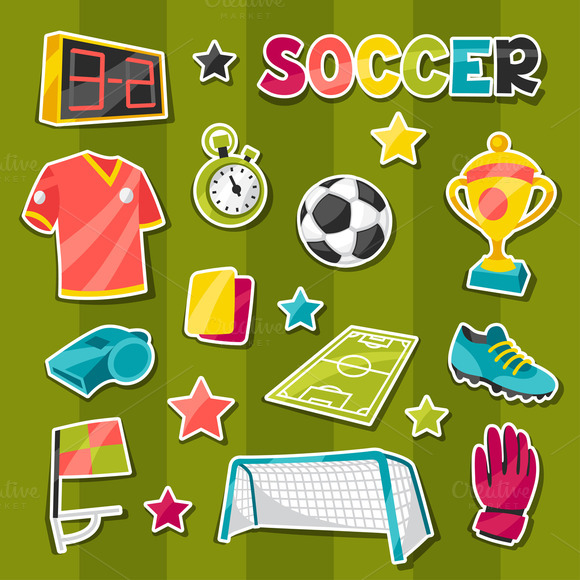 Soccer Sticker Symbols And Icons