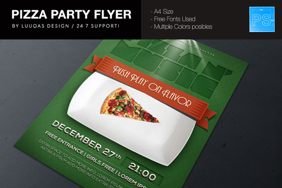 Pizza Party Flyer Poster