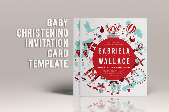 Baby Christening Invitation Template