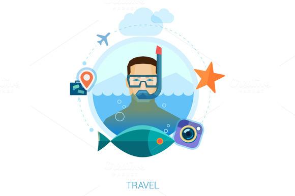 Snorkeling Man Over Sea Waters