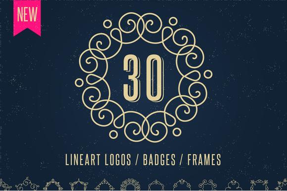 30 Lineart Logos Badges Frames