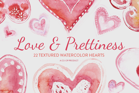 22 Watercolor Textured Hearts