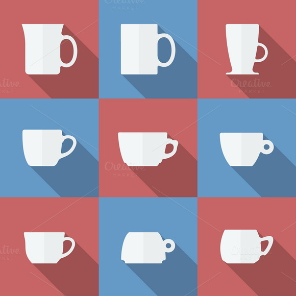 Icon Set Of Cups Flat Style